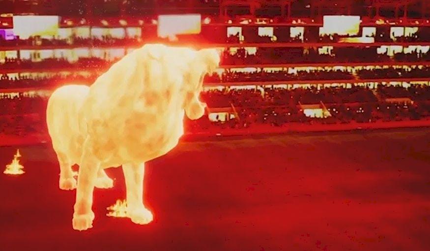 Hologram leeuw bij opening stadion blijkt... geen hologram te zijn